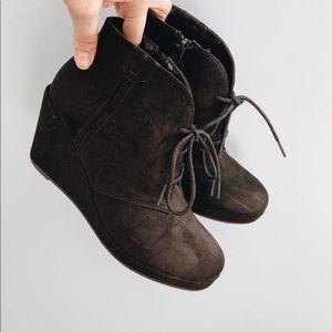 Merona Lace Up Wedge Booties Black